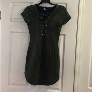 Green Lace Up Front Dress